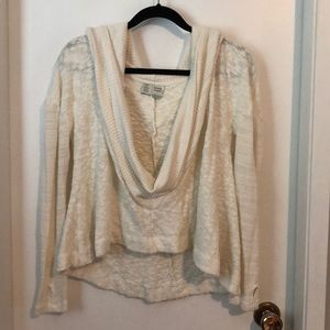 Anthropologie - Open front hooded sweater white XS